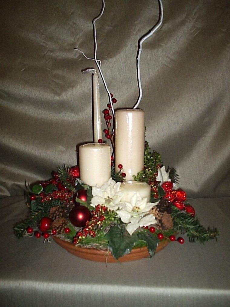 Centros de navidad con velas 50 ideas geniales for Adornos originales para navidad