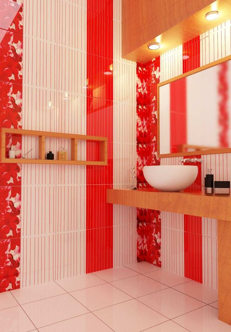bonito diseño baño color rojo