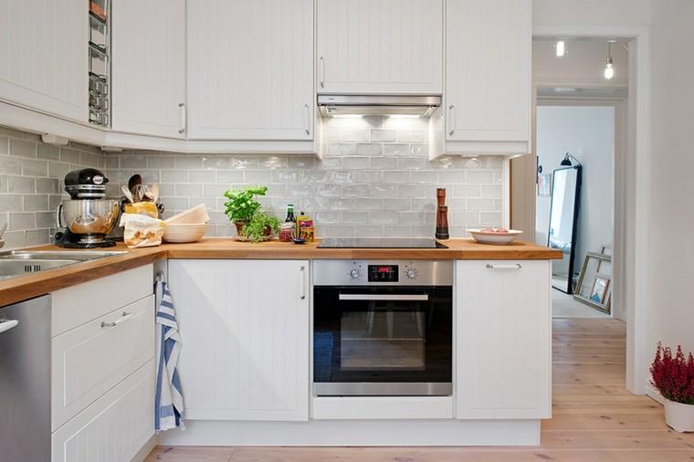 bonito diseño cocina pequeña blanca