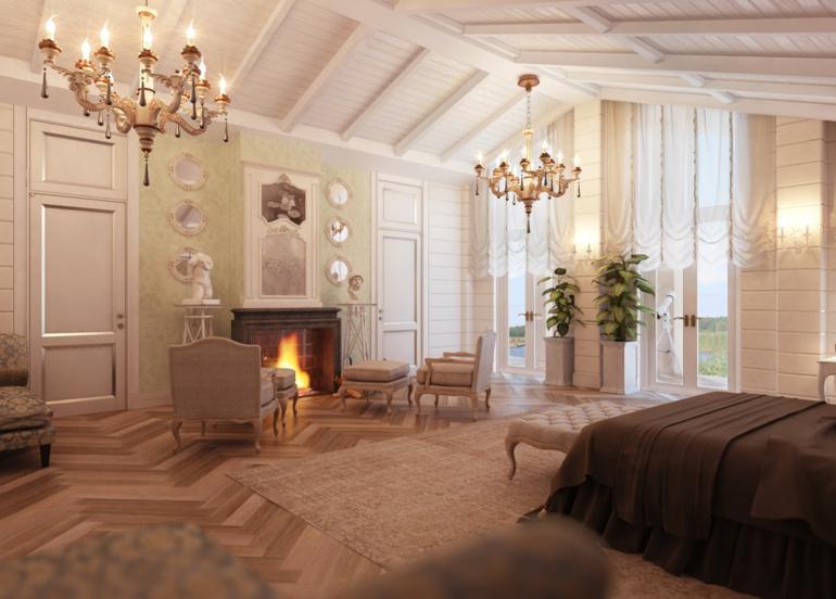habitaciones vintage bonito dormitorio estilo lujoso chimenea