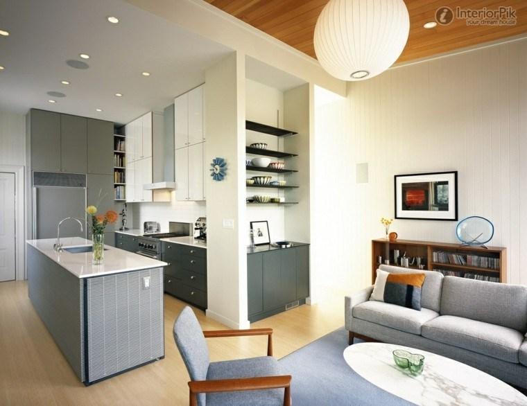 bonito salon cocina color gris