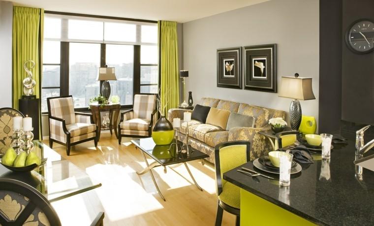 bonito salon color verde lma