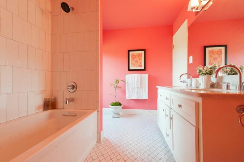 bonito diseño baño color coral