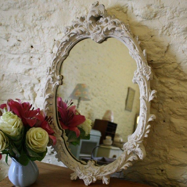 espejo deco blanco shabby