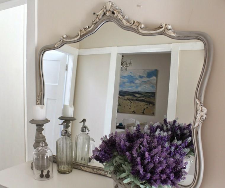 bonito espejo flores color lavanda