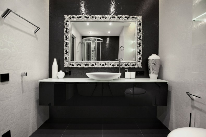 bonito espejo baño marco plata