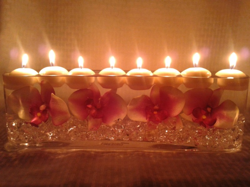 bonito centro mesa velas fila