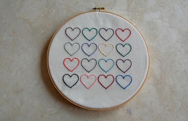 bordado corazones colores hilo deco