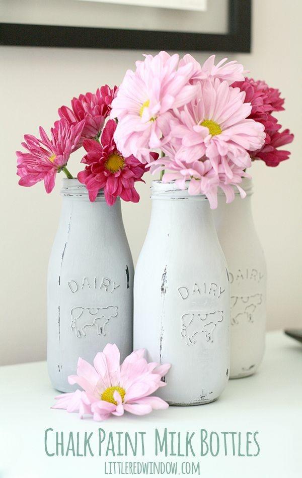 botellas vidrio pintadas jarrones