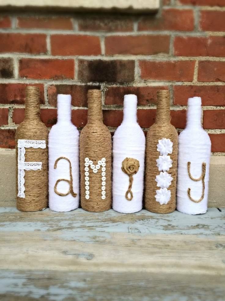 botellas forradas cuerda cáñamo familia