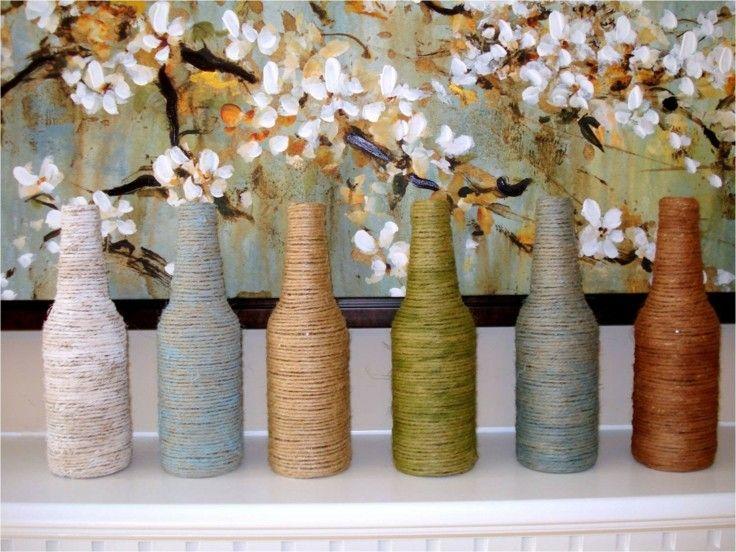 DIY decoracion botellas forradas tela cáñamo