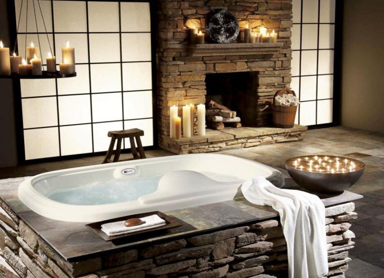baño lujoso chimenea piedra