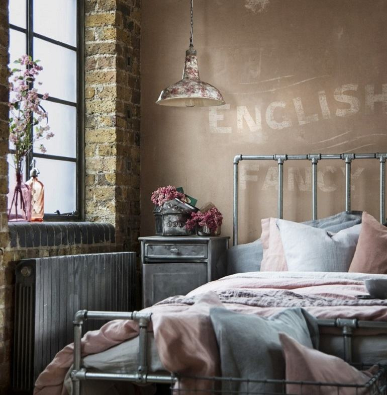 cama-acero-dormitorio-estilo-vintage