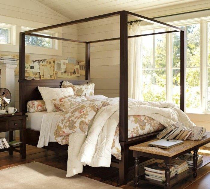cama dosel madera suelo pared madera dormitorio ideas