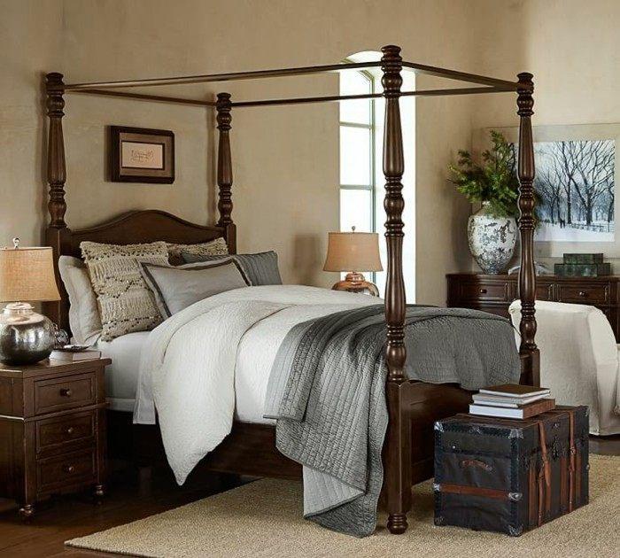 cama madera dosel estilo vintage dormitorio ideas