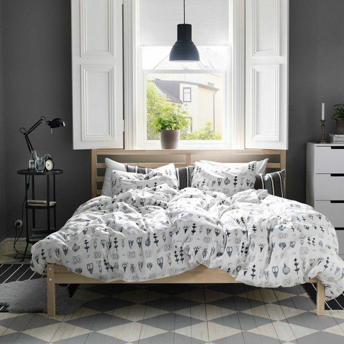 cama madera paredes negras dormitorio ideas