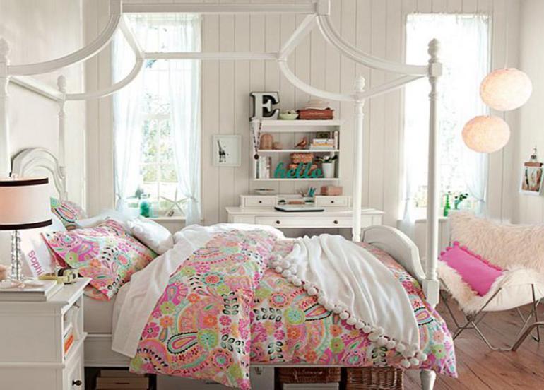 cama blanca estilo vintage