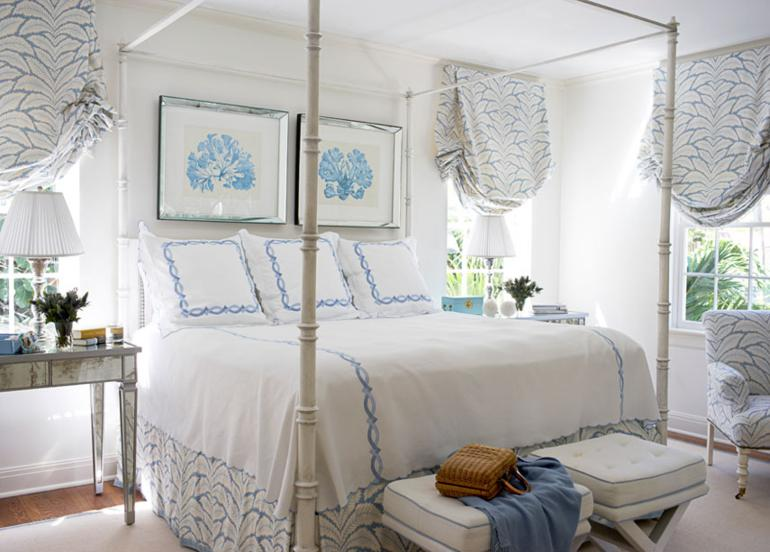 cama retro dosel motivos azules
