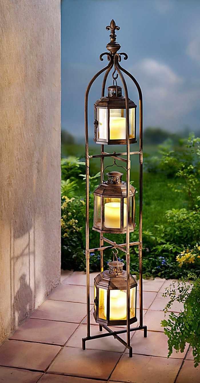 candelabro negro precioso jardin noche ideas