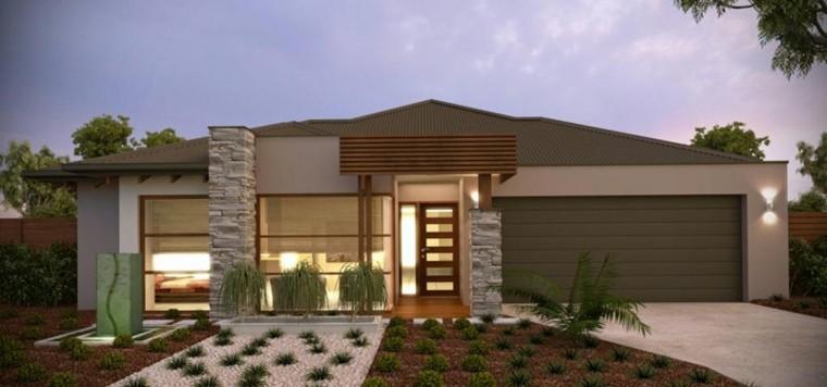 casa campo fachada verde moderna - Fachadas Modernas De Casas
