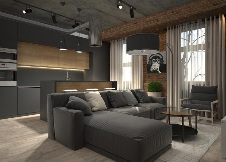 casa diseño areas lamparas grises