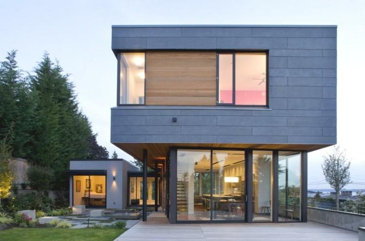 casa moderna fachada color gris