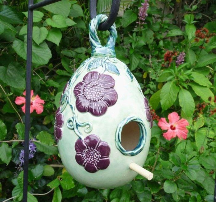 casita pajaros porcelana adorno flores ideas