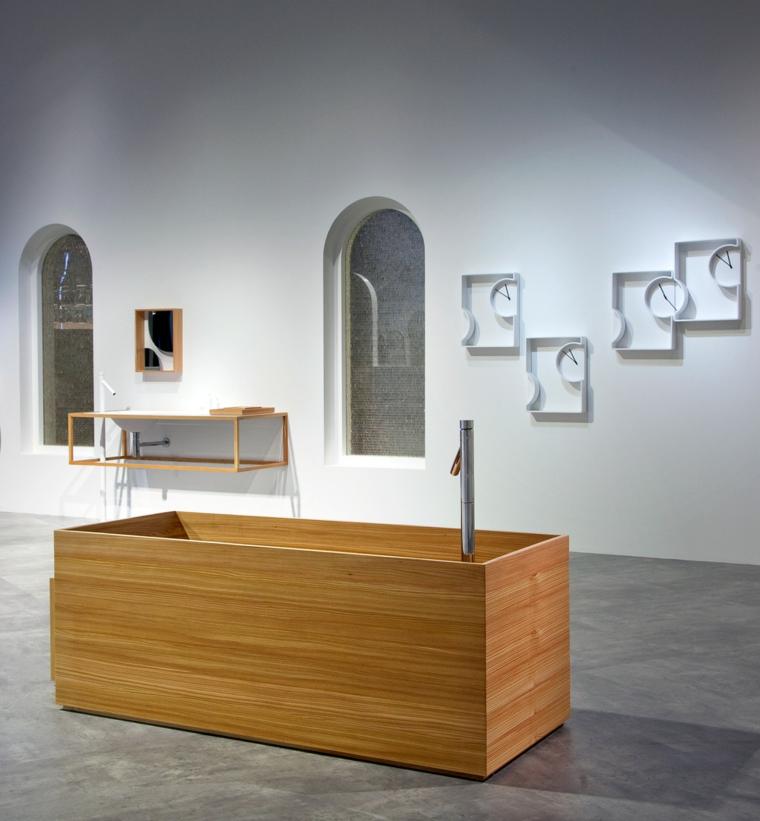 cemento suelo baño moderno bañera