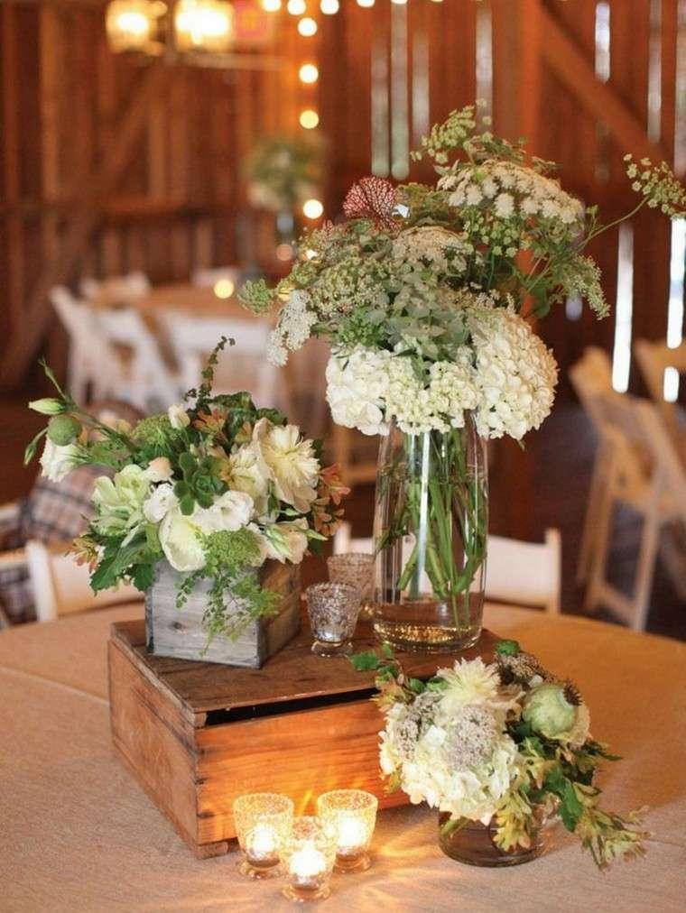 centro mesa bonito flores blancas