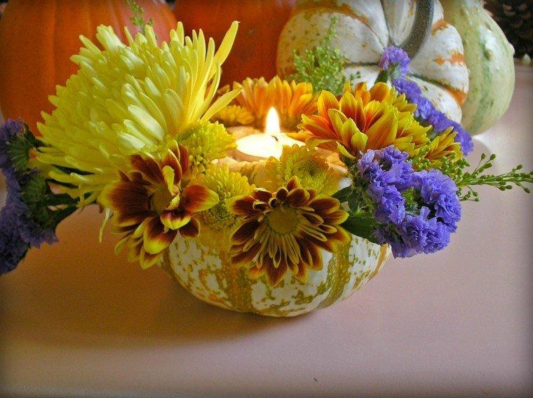 centro mesa calabaza flores vela