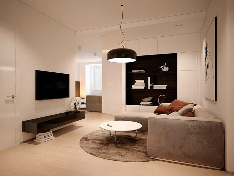 centro casa alfombras grises cojines