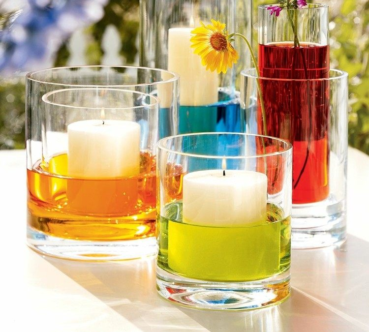 centro de mesa decoracion coloridos velas
