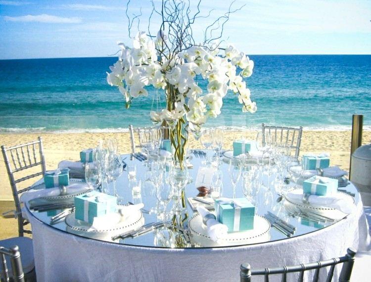 centro de mesa decoracion playa flores