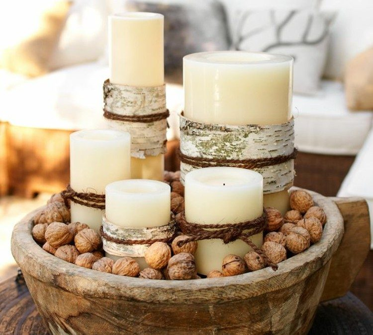 centro de mesa decoracion semillas secos