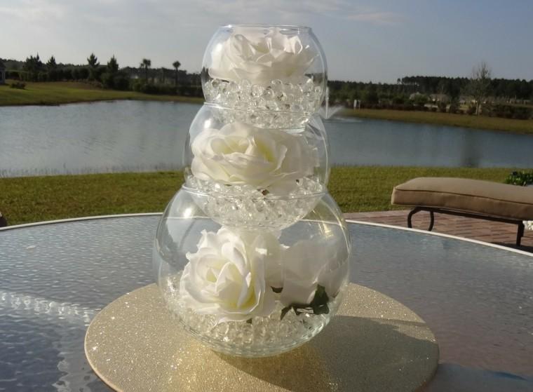 centro flores rosas boda blancas