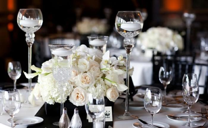 centro mesa blanco negro boda ideas