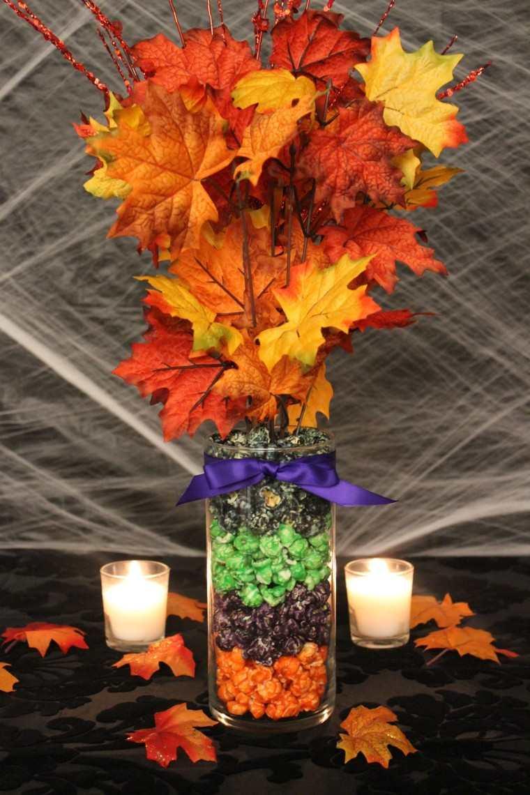centro mesa hojas secas otoño