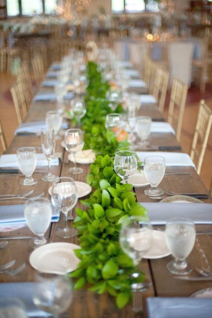 centro mesa simple hojas verdes ideas