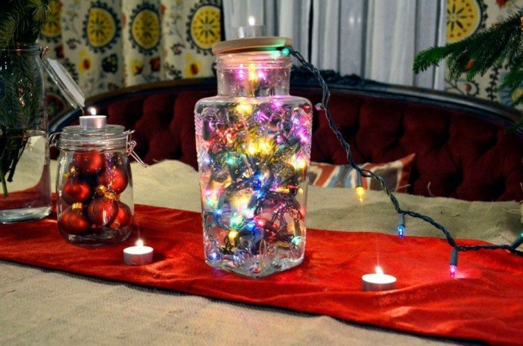 centro mesa tarro luces navidad