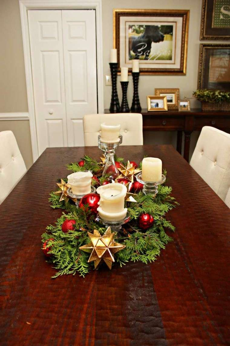 centros de navidad mesa velas estrellas doradas