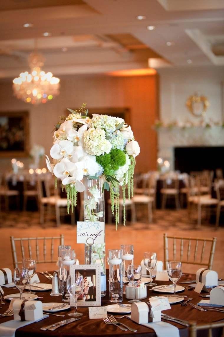 centros con arreglos florales para bodas centro alto mesa boda deco