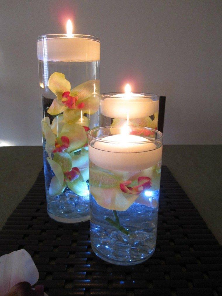 centros de mesa velas flores