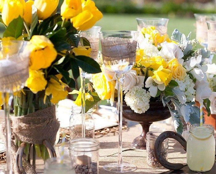 centros mesa bodas preciosos amarillo ideas