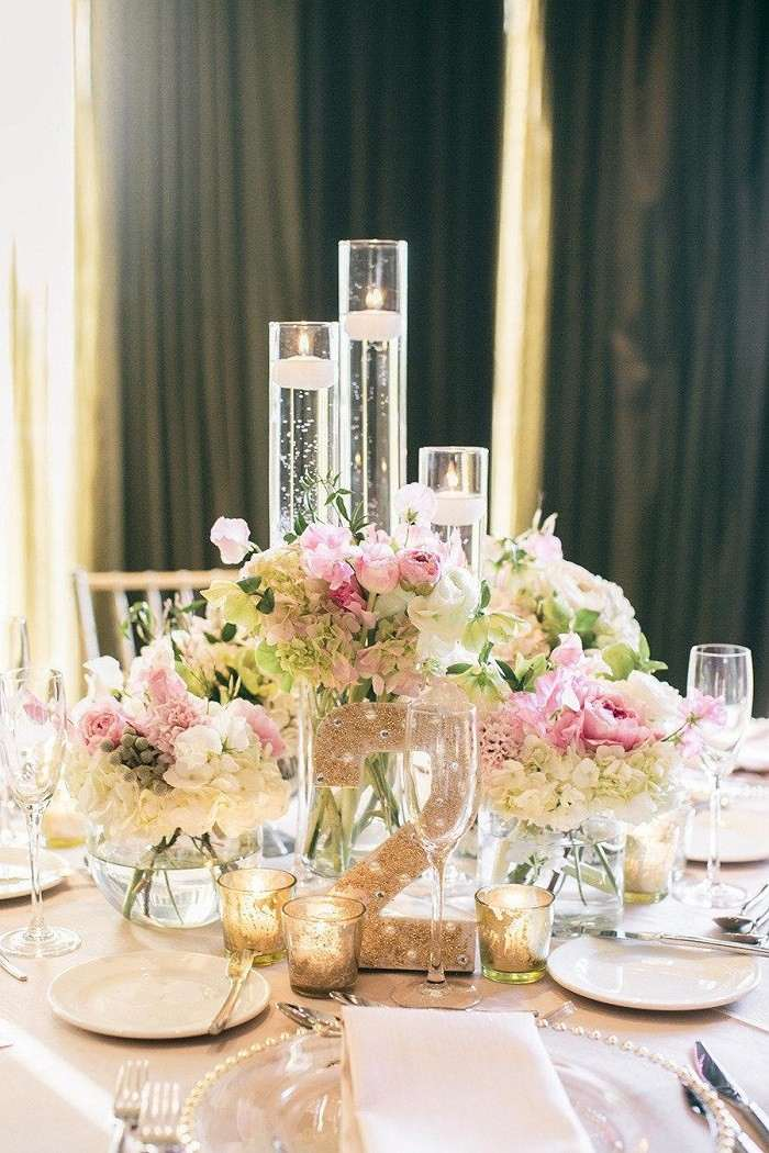 centros mesa bodas preciosos blanco rosa claro ideas