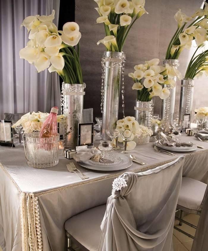 centros mesa bodas preciosos color plata ideas