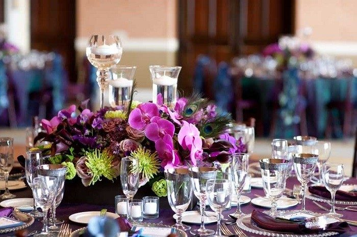 centros mesa bodas preciosos copas velas agua ideas