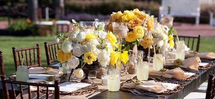 centros mesa bodas preciosos estilo rustico blanco amarillo ideas