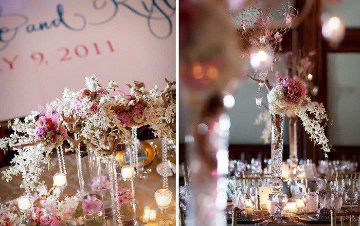 Flores romanticas en jarron de cristal jarrones de flores - Como decorar jarrones ...