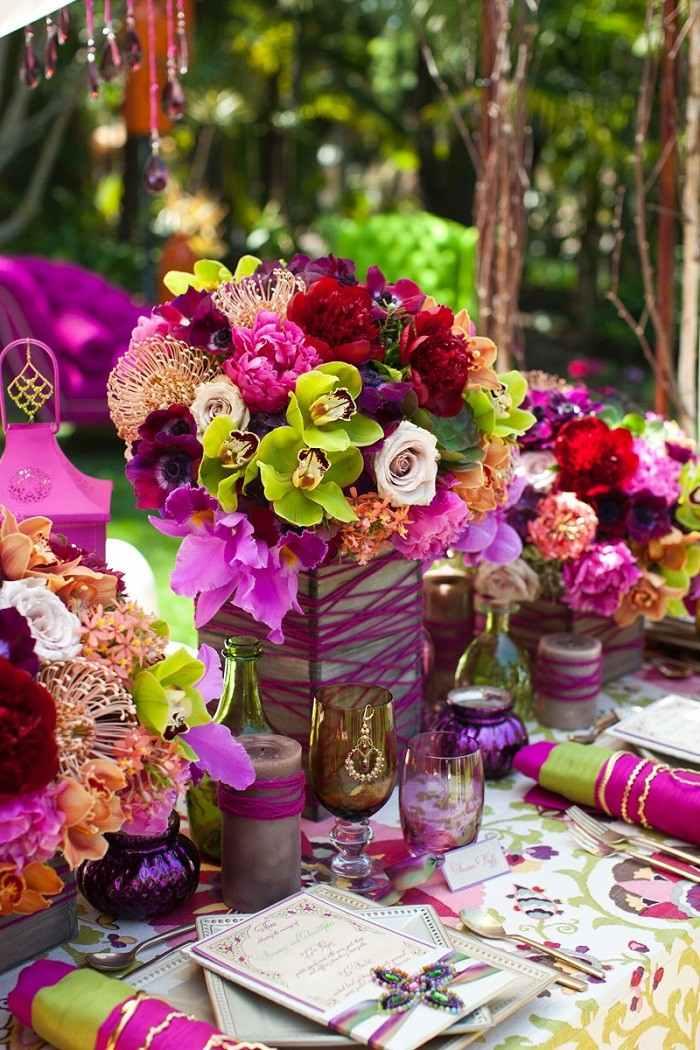 centros mesa bodas preciosos mesa colores ideas