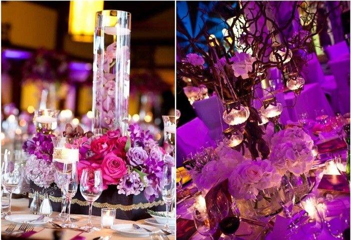 centros mesa bodas preciosos tema purpura ideas